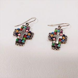 Sterling Silver 925 Cross Dangle Earrings